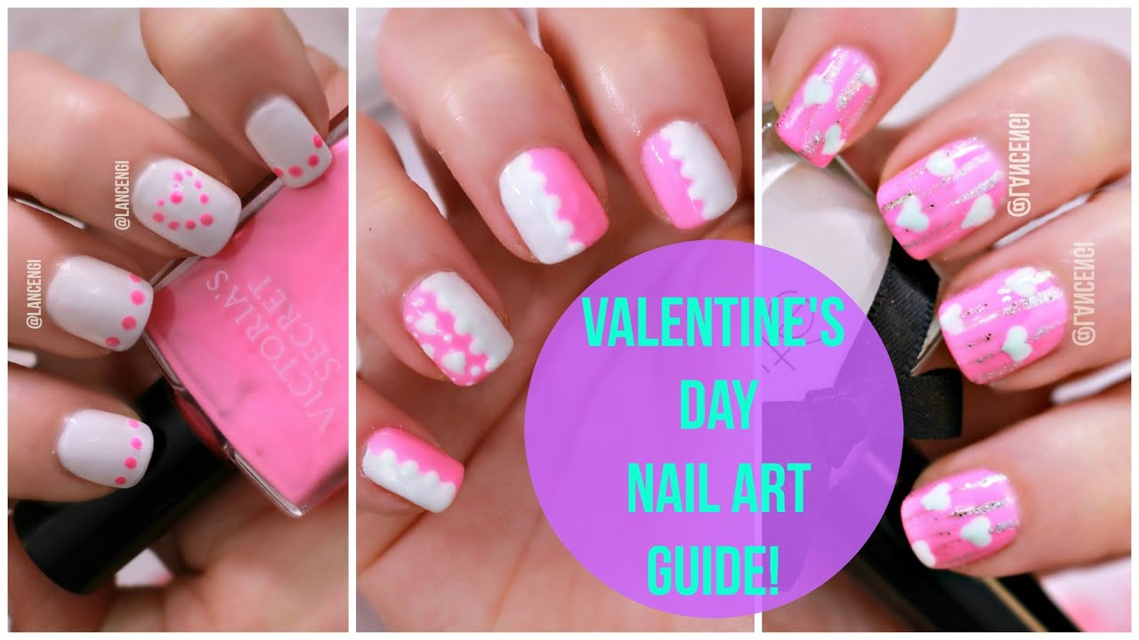 Diy cute beginners nail art 21 valentines day pink designs youtube solutioingenieria Choice Image