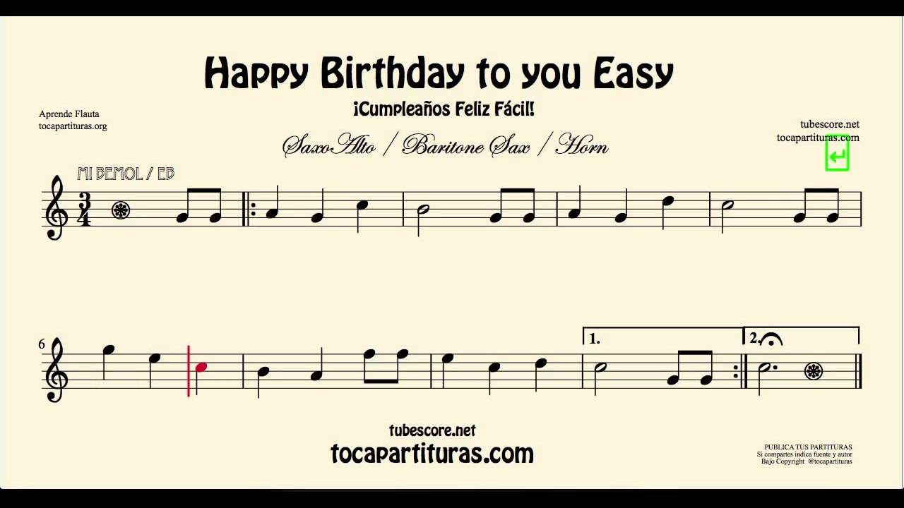 Happy Birthday To You Easy Sheet Music For Alto Saxophone And Baritone Saxophone Youtube
