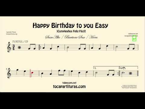 Happy Birthday to You Easy Sheet Music for Alto Saxophone and Baritone Saxophone