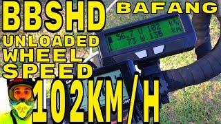 bafang bbshd unloaded wheel speed test 102km h 1000w mid drive electric bike bbs02 8fun motor