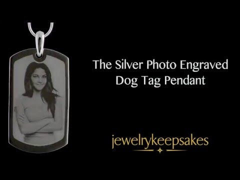 Photo Engraved Large Dog Tag Silver Pendant