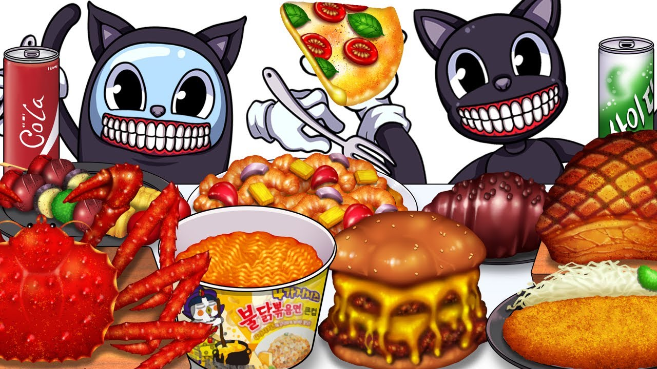 Mukbang Animation Many Food eating Cartoon Cat Complete edition 05
