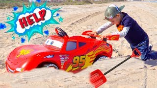Artem pretend play with Lightning Mcqueen toy and Ride On Power Wheels - Video collection for Kids