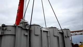 Крановые работы трансформатора для подстанции(Негабаритные перевозки., 2012-08-30T07:12:56.000Z)