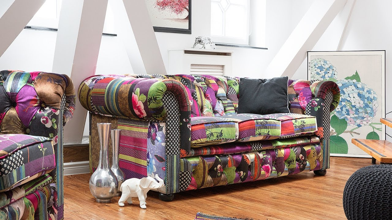 Sofa canap chesterfield beliani youtube for Canape patchwork
