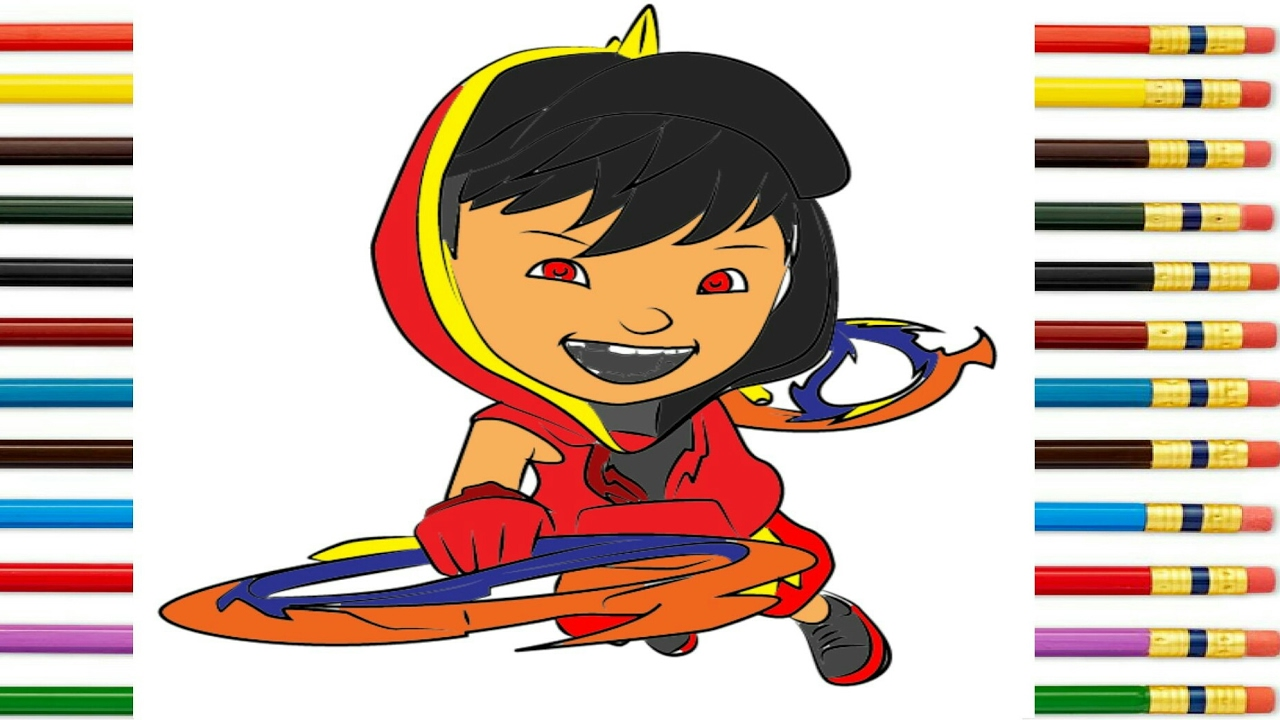 learn drawing coloring boboiboy galaxy blaze ep 17 step by step