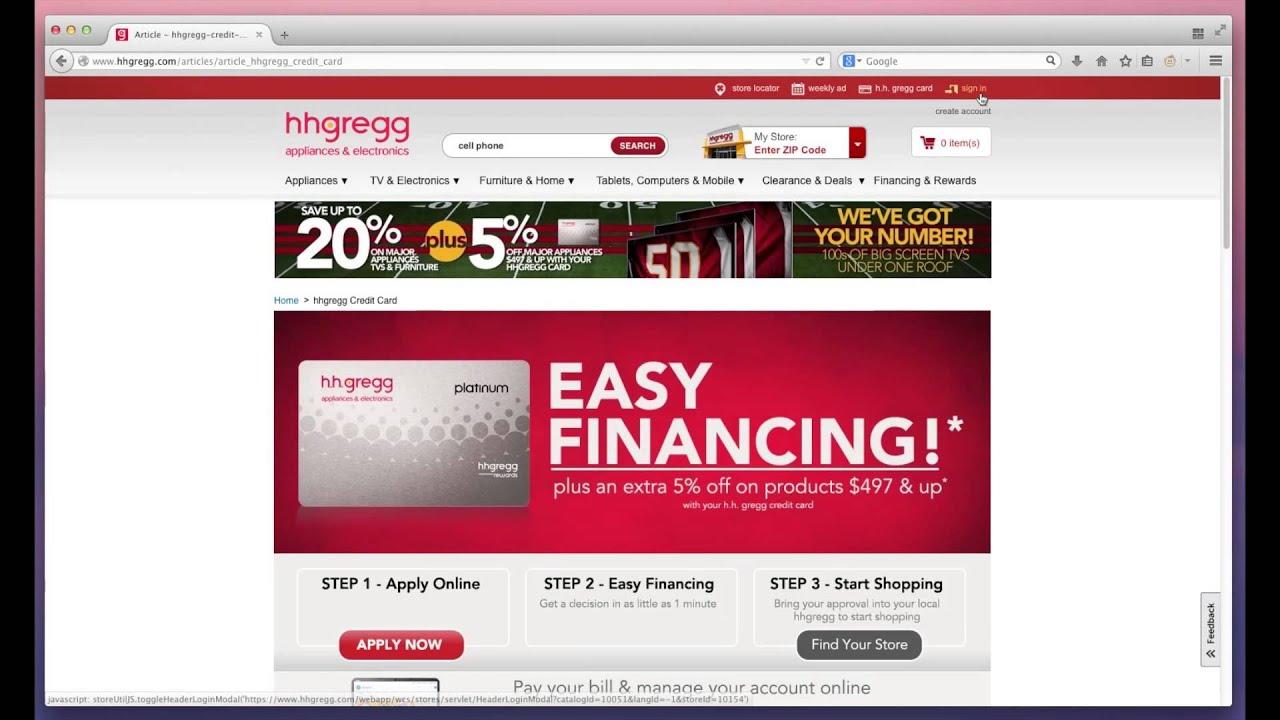 Hhgregg Credit Card Payment Login And Payment Mybillcom Com Youtube