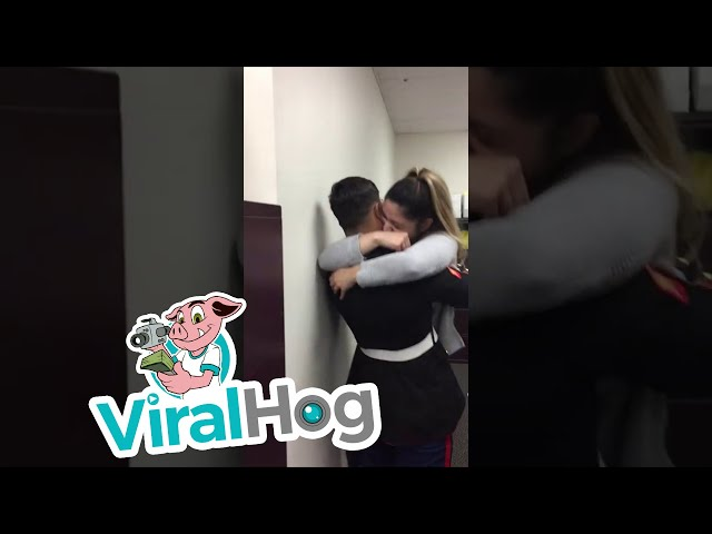 Marine Surprises Girlfriend at Work with Early Arrival || ViralHog
