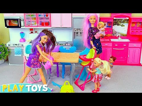 Barbie Doll Morning Routine w/ Barbie Bathroom and Kitchen Cooking Toys!