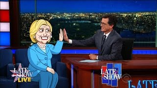 Cartoon Hillary Clinton Answers Questions From Republicans by : The Late Show with Stephen Colbert