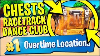 SEARCH CHESTS OR AMMO BOXES AT A RACETRACK OR A DANCE CLUB (Fortnite Overtime Challenges)