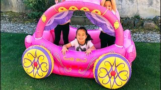 Learn Colors Pretend Play with Pink Kids Slide and Princess Carriage Inflatable Toy