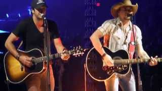 Jason Aldean and Luke Bryan Much Too Young by Garth Brooks at Intrust Bank Arena in Wichita Kansas