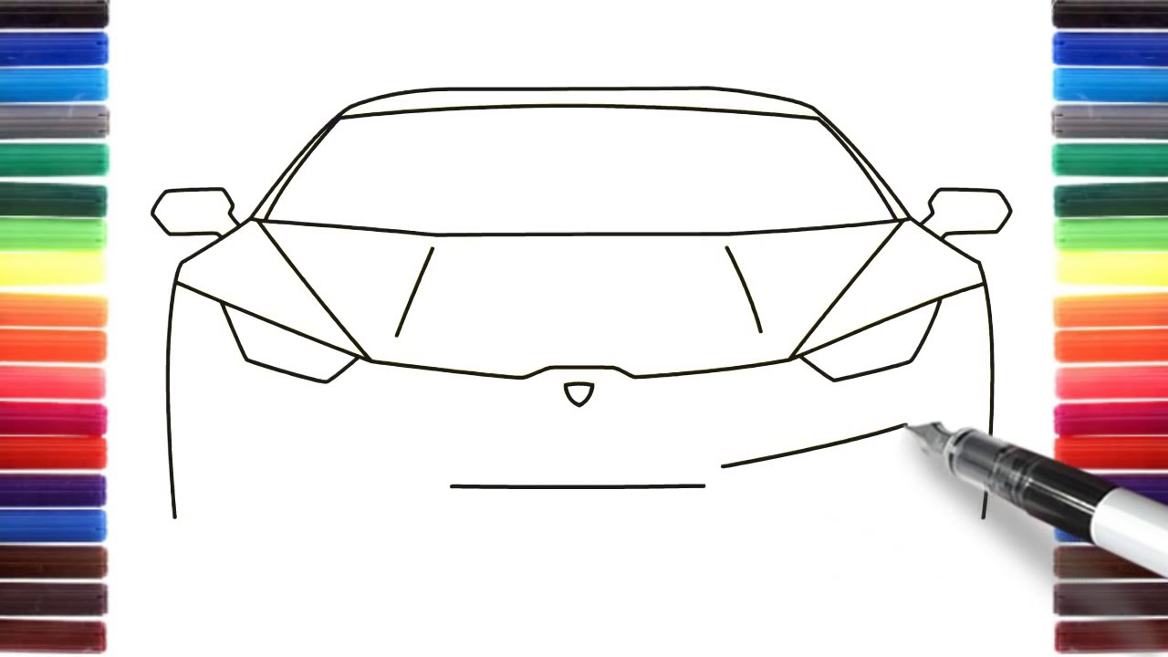 How To Draw A Car Lamborghini Huracan Front View Step By Step How