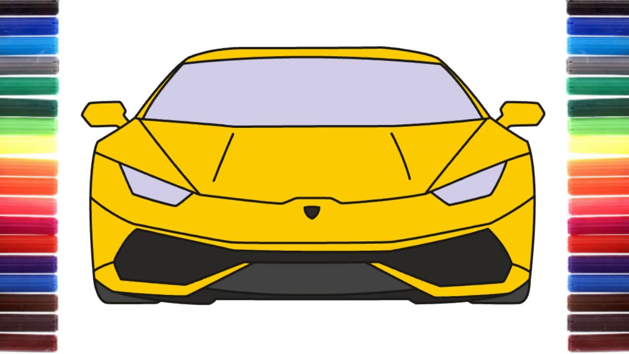 How To Draw A Car Lamborghini Huracan Front View Step By Step Youtube