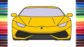 How to draw a car Lamborghini Huracan Front View step by step