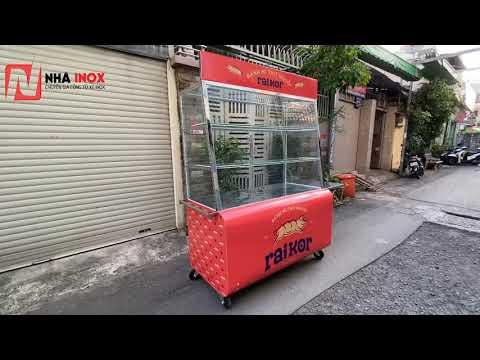 Tủ xe bánh mì inox thùng cong, mẫu mới nhất 2020 1m4x70x2m - Nhã Inox
