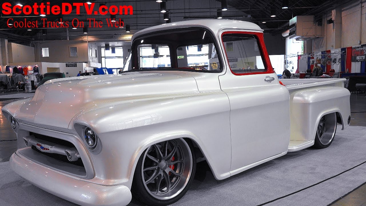 1957 chevrolet 3100 pickup snow white street truck the grand national roadster show 2018 [ 1280 x 720 Pixel ]