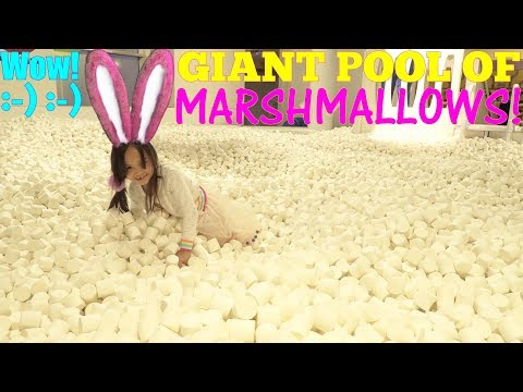 Children's Playground: A Giant Pool of Marshmallows! A Swimming Pool of Marshmallows! Toy Channel
