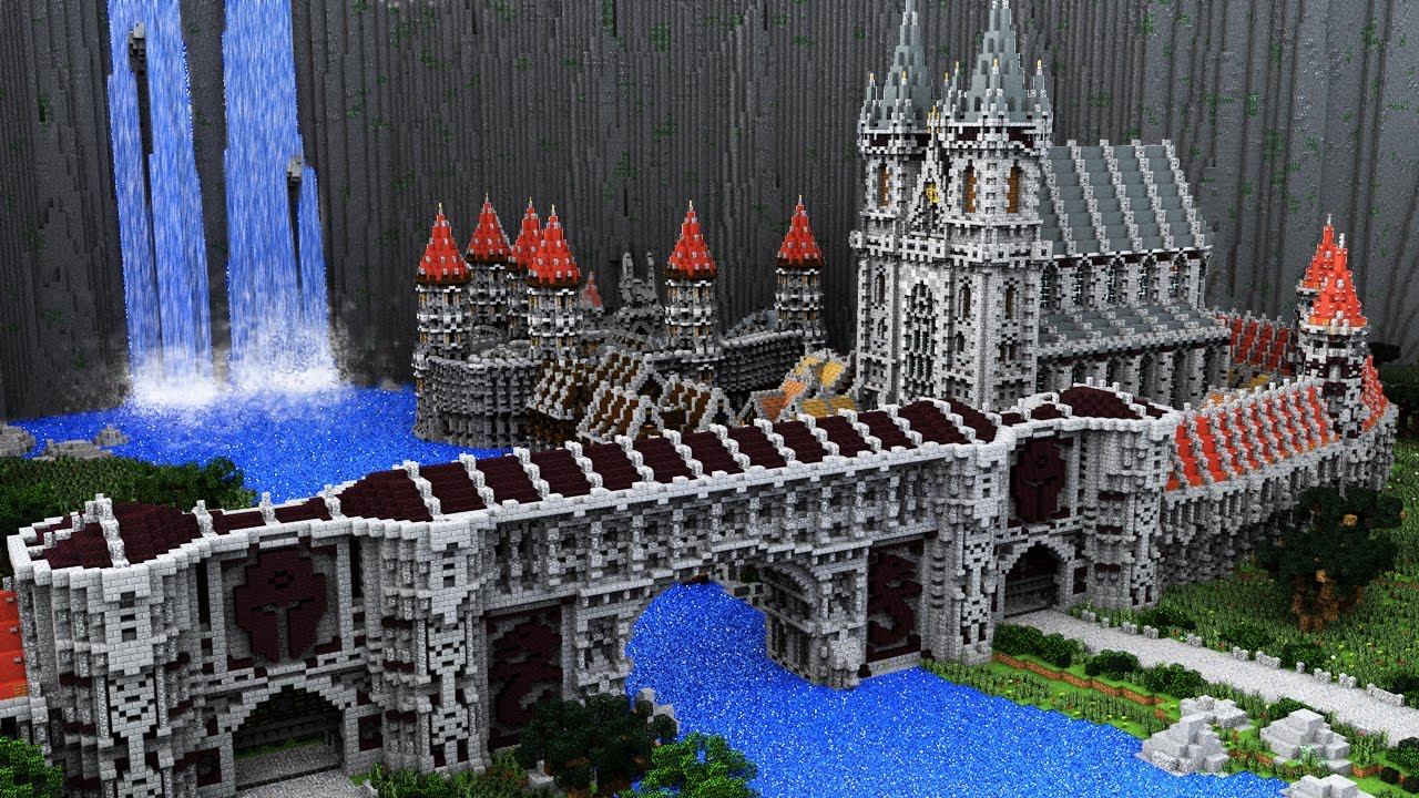 Epic Minecraft Medieval City Timelapse The Waterfall