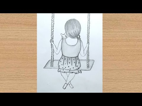 How To Draw A Girl Sitting On Swing For Beginners Pencil