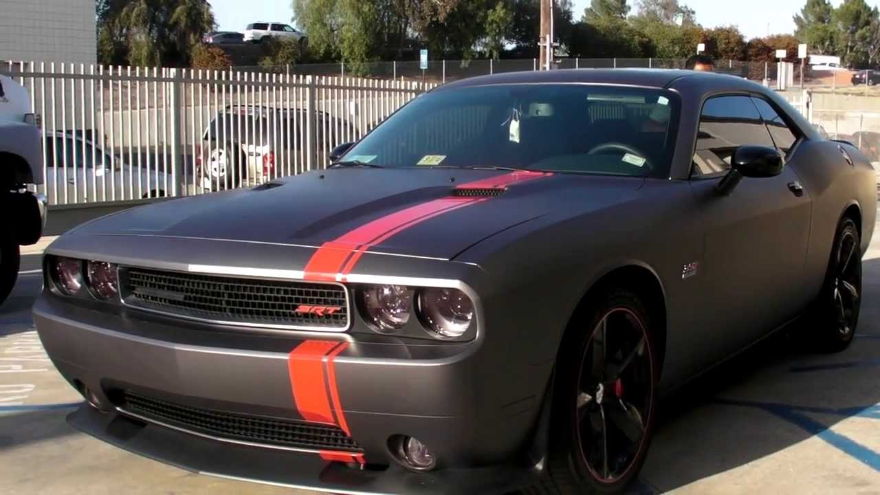 Matte Dark Gray Dodge Challenger With Mopar Stripes Youtube