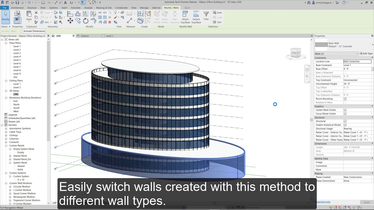 Revit 2020: Elliptical Walls