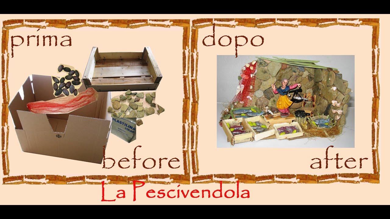 abbastanza Creative recycling cardboard box: Christmas crib fishmonger house  TQ86