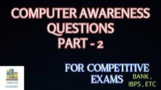 COMPUTER AWARENESS - PART 2 | IMPORTANT COMPUTER QUESTIONS | IBPS EXAM QUESTIONS #computerawareness
