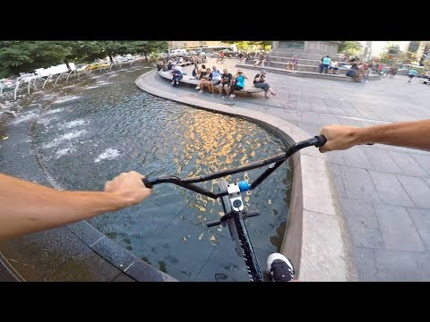 RIDING BMX IN NYC WATER FOUNTAINS!