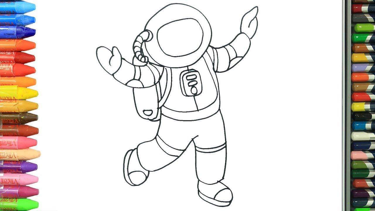 الرسم والتلوين للأطفال كيفية رسم رائد فضاء الرسم للأطفال الأطفال ألوان الفيديو Youtube