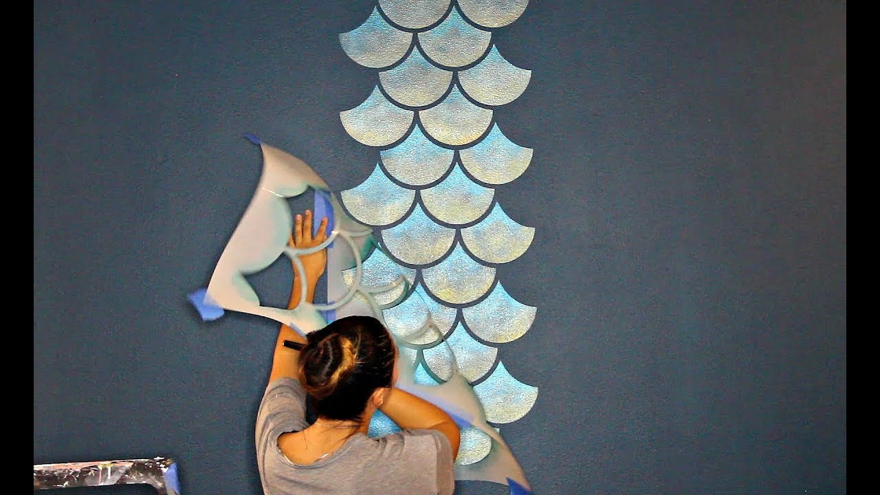 How To Stencil A Mermaid Fish Scales Wall Painting A Feature Wall