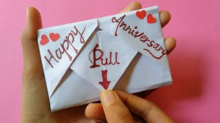 DIY - Surprise Message Card | A Beautiful Anniversary Card Idea | Pull Tab Origami Envelope Card