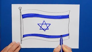 How to draw and color the National Flag of Israel