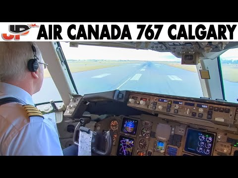 Piloting AIR CANADA Boeing 767-300ER From Calgary | Cockpit Views