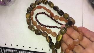 Натуральный  камнень - посылка - тигровый глаз- микс