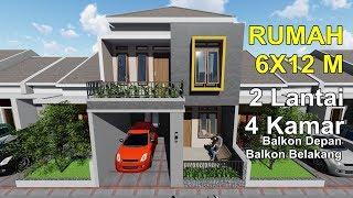 Rumah dilahan 6x12 m dengan 4 kamar tidur_Balkon depan dan belakang