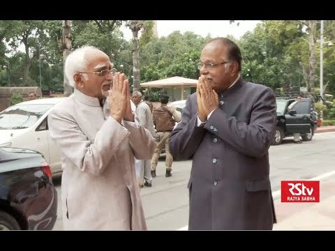 Vice President Md. Hamid Ansari Reaches Parliament on Last day of his term