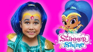 Shimmer & Shine Kids Makeup & Costume Julia pretend play with toy genies