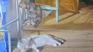 картина - кошки на крыльце -#живопись (часть 1)