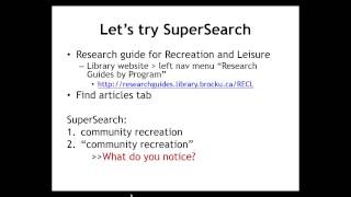 Brock Library RECL 1P03 Spring/Summer 2014 - SuperSearch