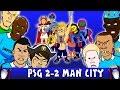 Psg Vs Man City 2-2 (uefa Champions League 2016 Goals Highlights Cartoon Zlatan De Bruyne) video