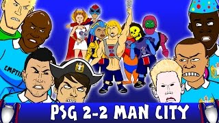 PSG vs MAN CITY 2-2 (UEFA Champions League 2016 Goals Highlights Cartoon Zlatan De Bruyne)