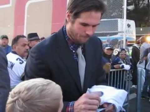 AJ Feeley Receiving A Bring Back The LA Rams Shirt