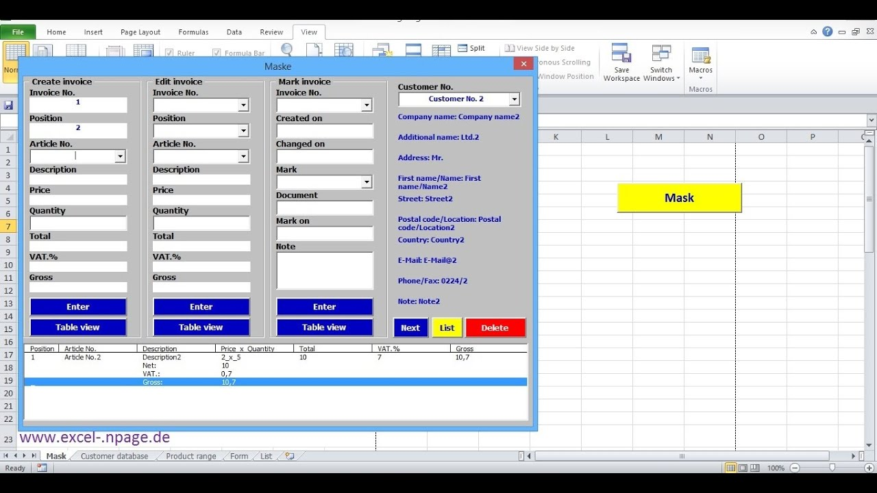 Customer account create/ - 8_create Invoice Program In Excel Itself Create Customer Account Items