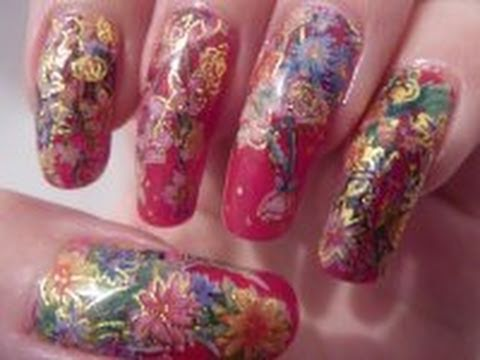 christmas xmas inspired flower water decal nail art design