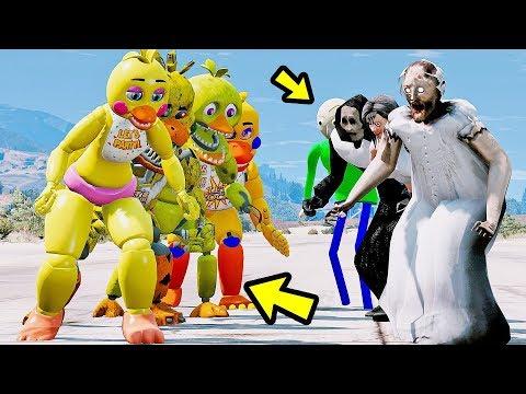 ANIMATRONICS TODAS AS CHICAS PODEM VENCER OS TODOS VILÕES? | GTA V Five Nights at Freddy's thumbnail