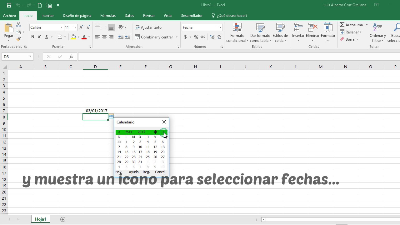 xlscal calendario desplegable para excel youtube