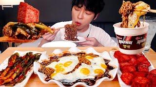 MUKBANG 집밥! 짜파게티범벅,벽돌햄,메추리후라이,흰밥,파김치 먹방! Eat Giant Ham & Blacke Bean Noodles & Fried Quail Eggs