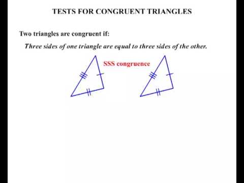 Year 9 And 10 Tests For Congruent Triangles Youtube